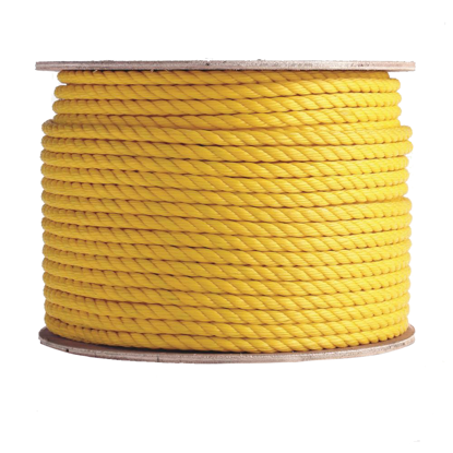 Three Strand Twisted Yellow Polypropylene Rope